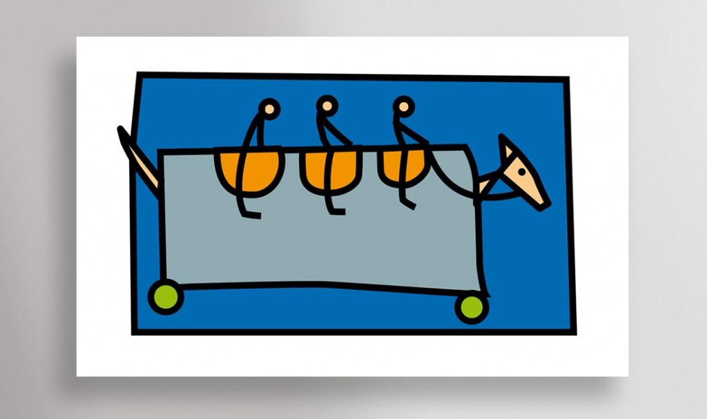 """""""Cheval de trois"""" - Illustration vectorielle."""